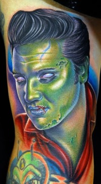 Elvis Presley Zombie Halloween Tattoo