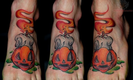 Cool Foot Halloween Tattoo