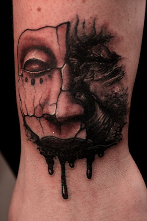 Melting Face Mask Tattoo