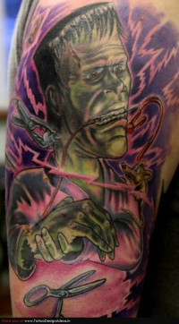 Cool Frankenstein Halloween Tattoo