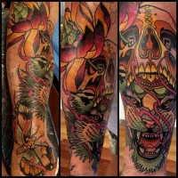 Tiger roar sleeve tattoo