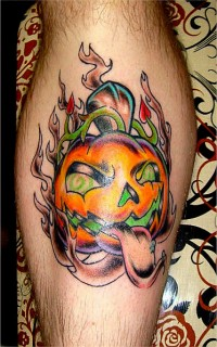 Cool Flaming Jack-o-Lantern Pumpkin Tattoo