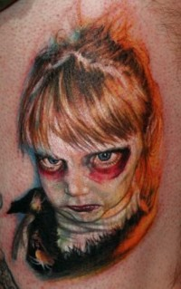 Cool Zombie Girl Tattoo