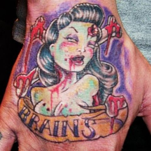 Betty Page Zombie Tattoo for Halloween