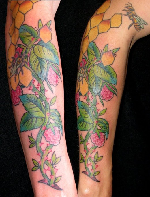 Raspberry vines tattoo